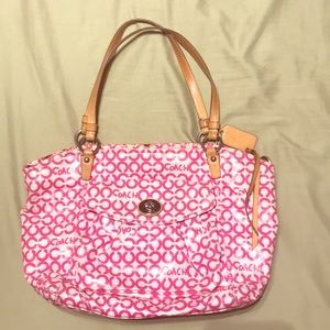 Large Pink and White Coach Purse